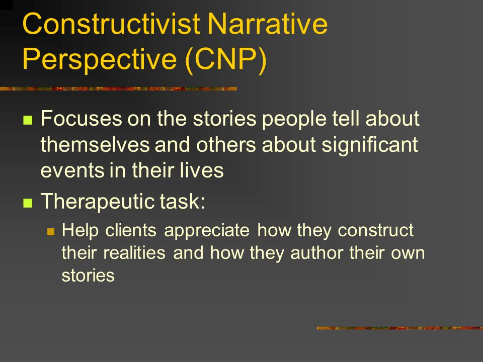 Constructivist Narrative Perspective (CNP)