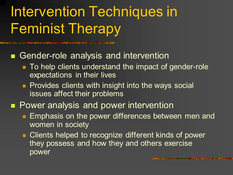 Intervention Techniques in Feminist Therapy