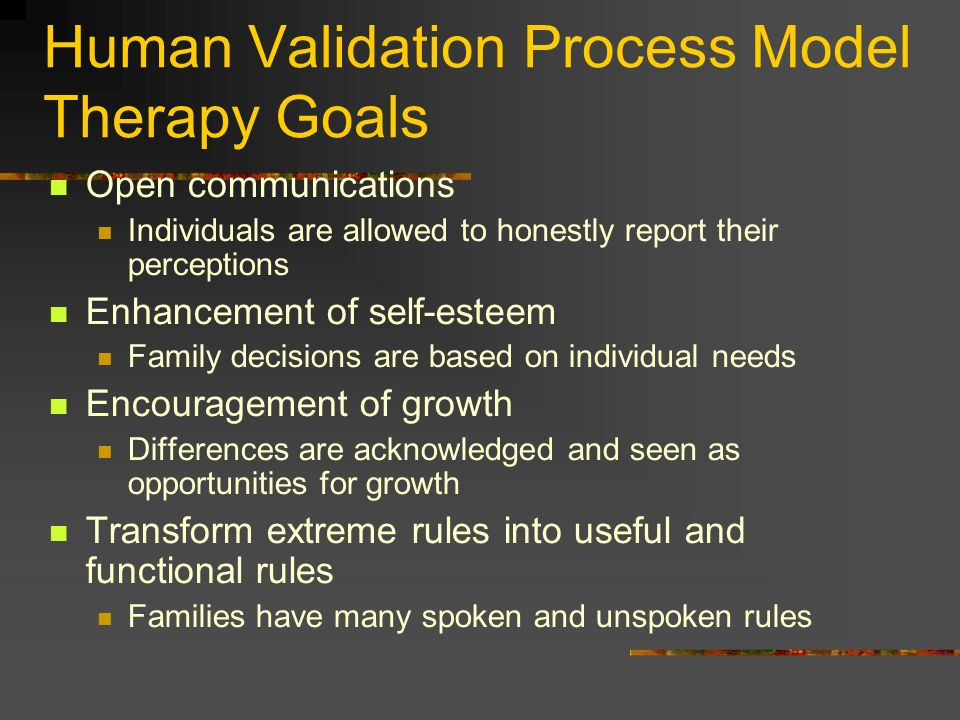 Human Validation Process Model Therapy Goals