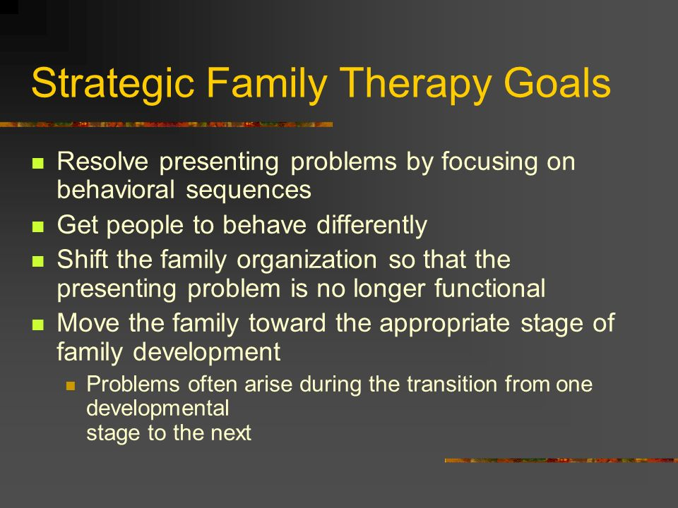 Strategic Family Therapy Goals