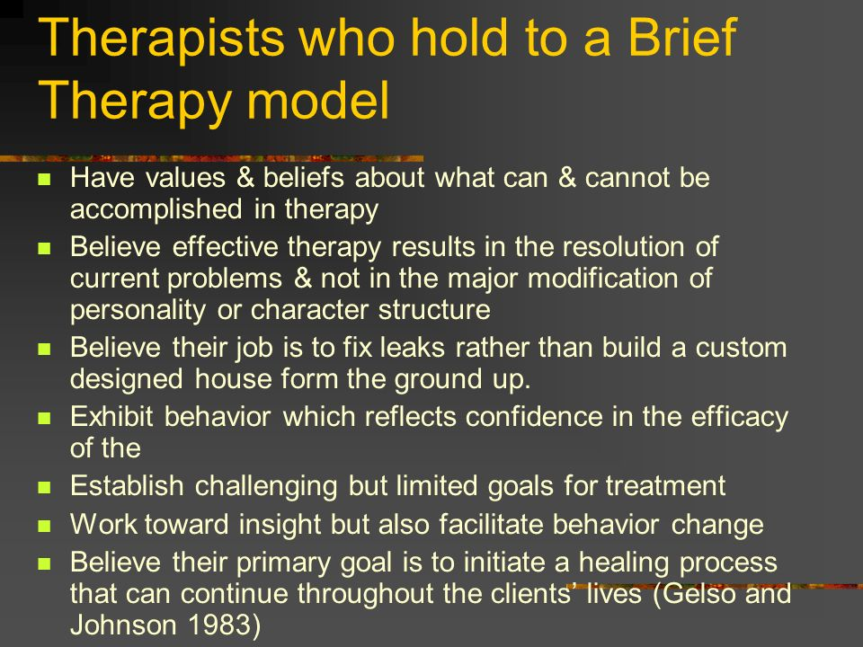 Therapists who hold to a Brief Therapy model