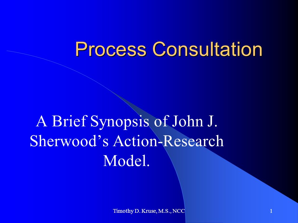 A Brief Synopsis of John J. Sherwood's Action-Research Model.