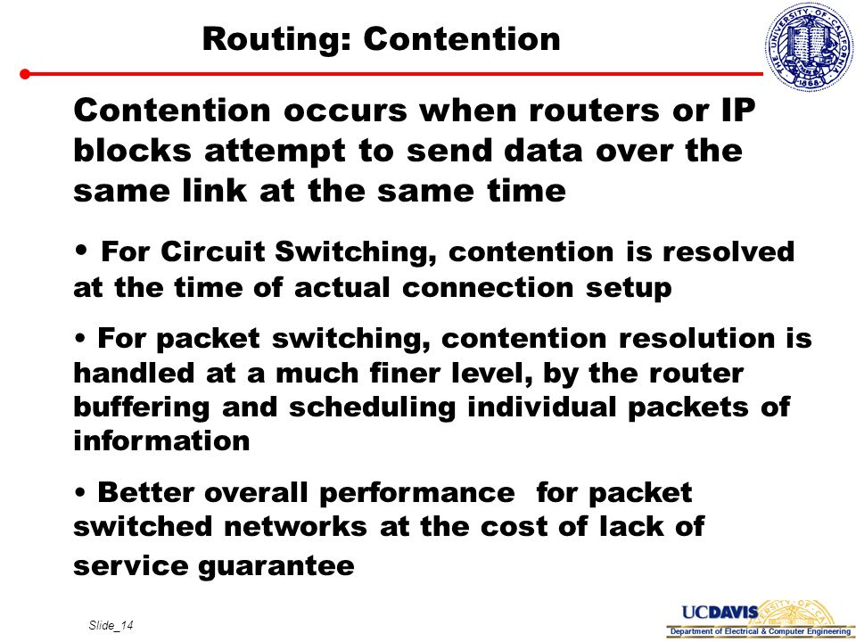 Routing: Contention Contention occurs when routers or IP blocks attempt to send data over the same link at the same time.
