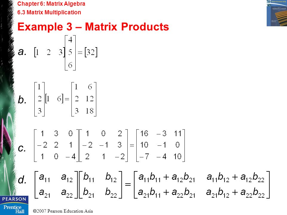Example 3 – Matrix Products