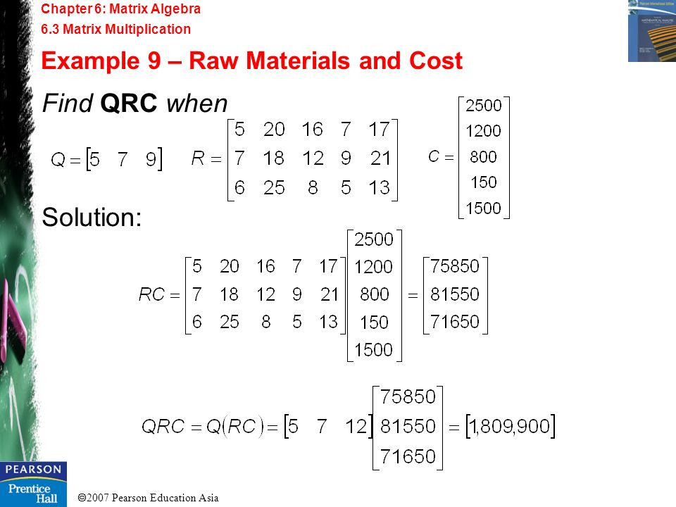 Find QRC when Solution: Example 9 – Raw Materials and Cost