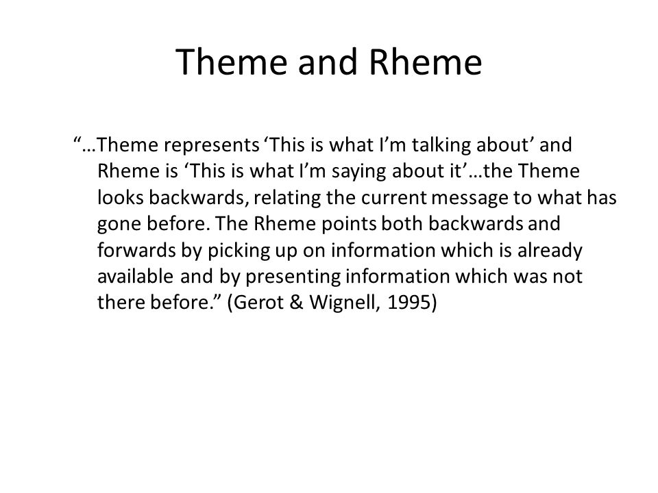 Theme and Rheme