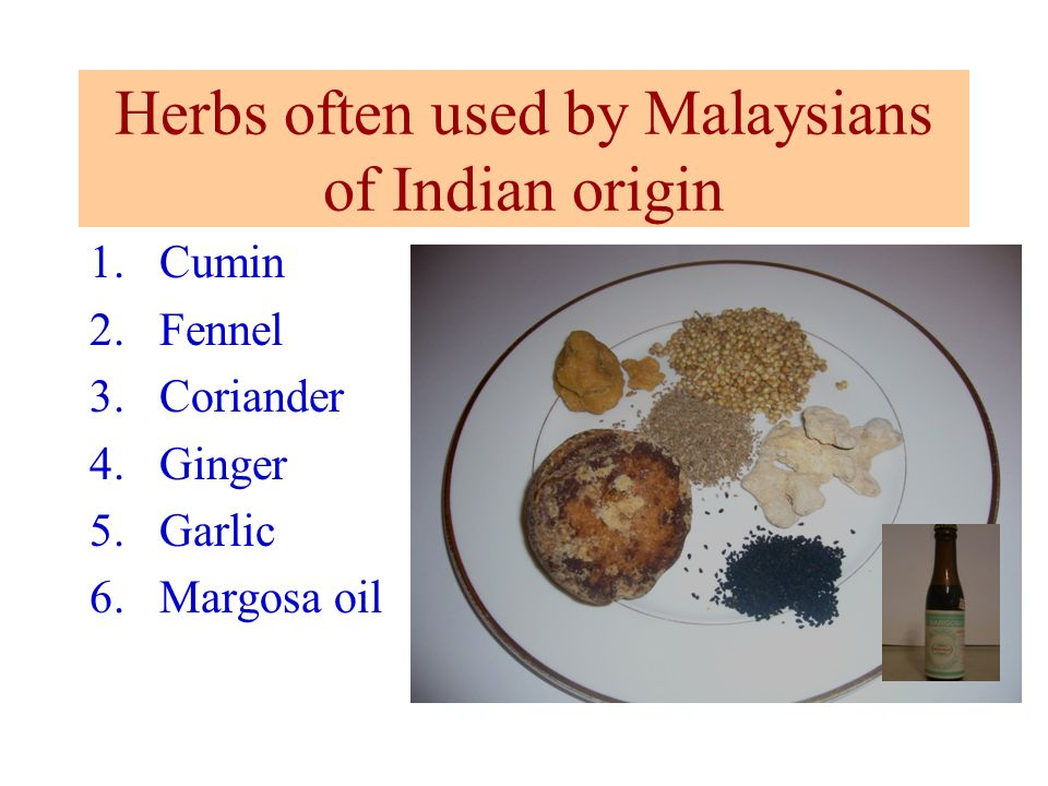 Herbs often used by Malaysians of Indian origin