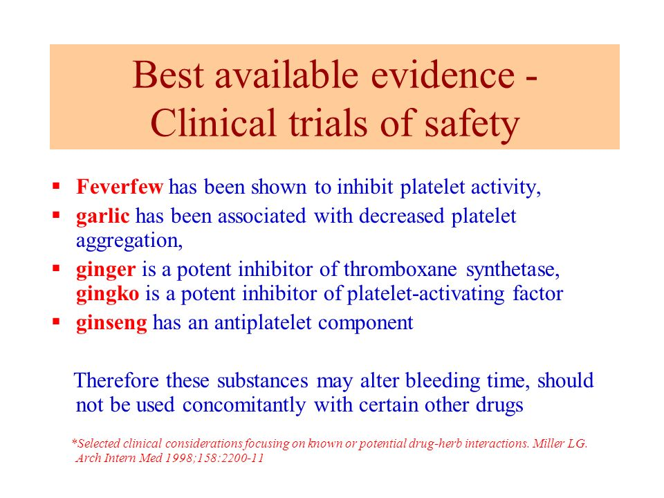 Best available evidence - Clinical trials of safety