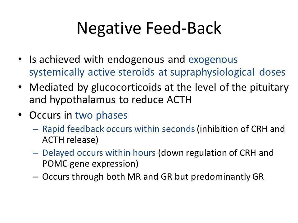 Negative Feed-Back Is achieved with endogenous and exogenous systemically active steroids at supraphysiological doses.