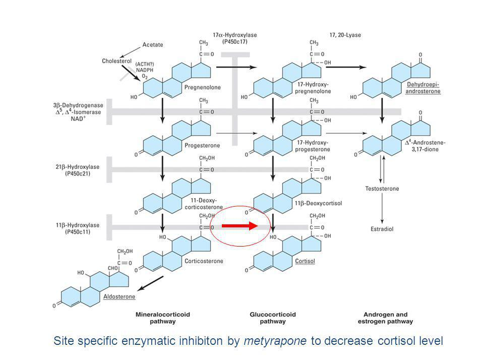 Site specific enzymatic inhibiton by metyrapone to decrease cortisol level