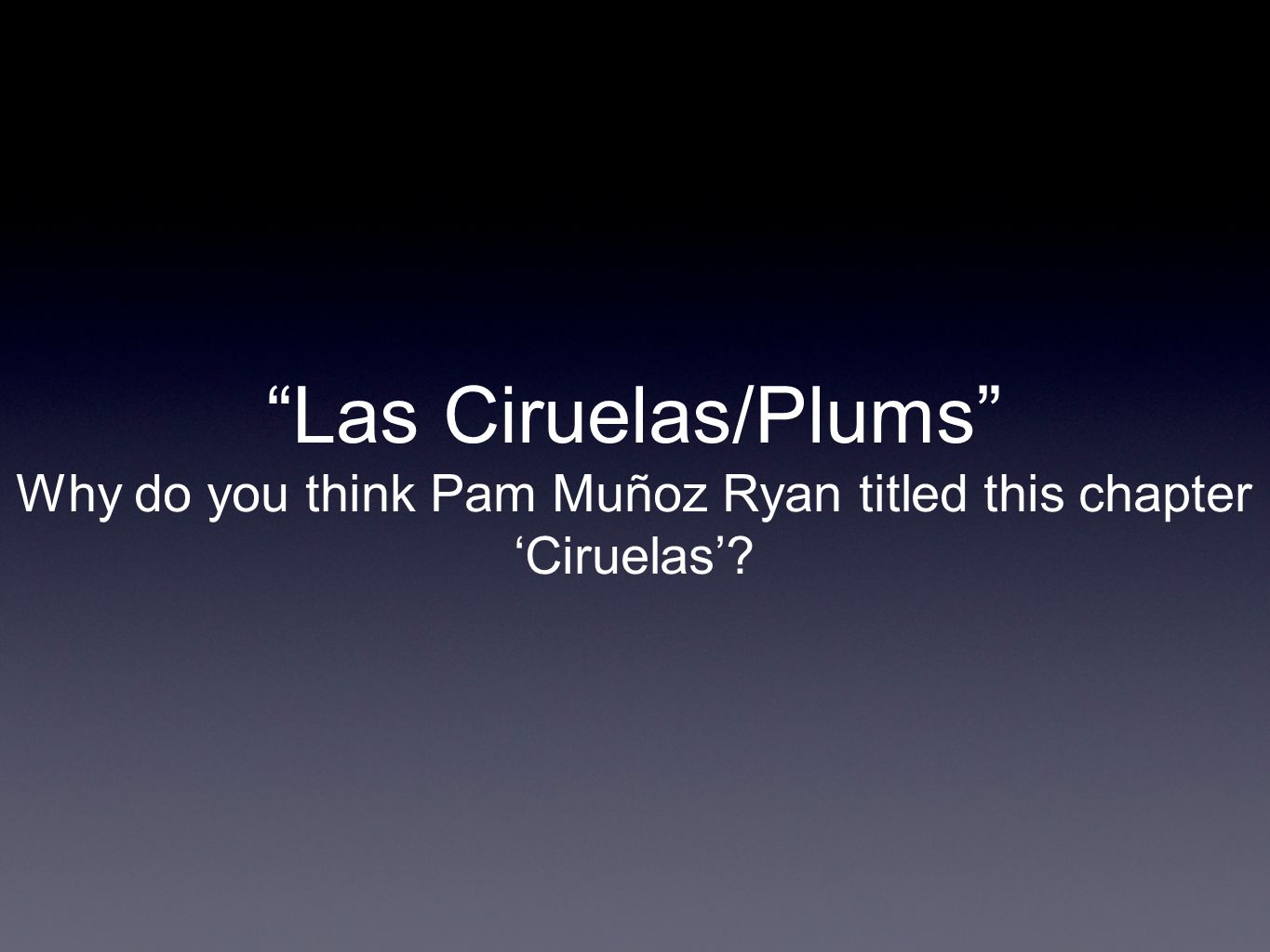 Why do you think Pam Muñoz Ryan titled this chapter 'Ciruelas'