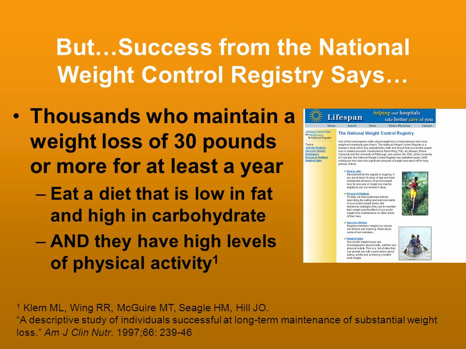 But…Success from the National Weight Control Registry Says…