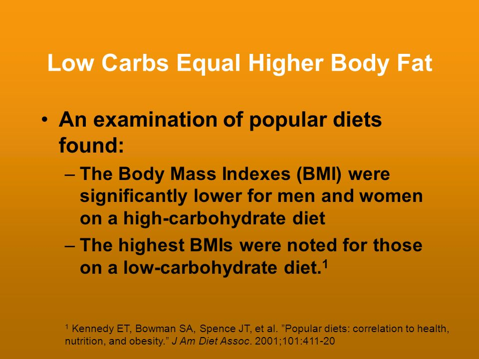 Low Carbs Equal Higher Body Fat