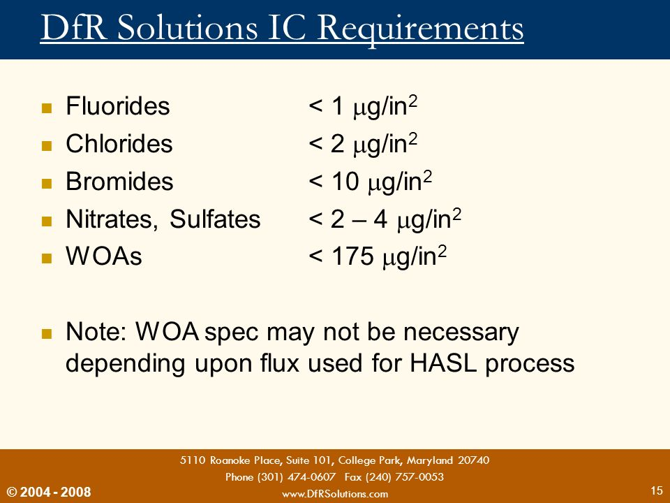 DfR Solutions IC Requirements