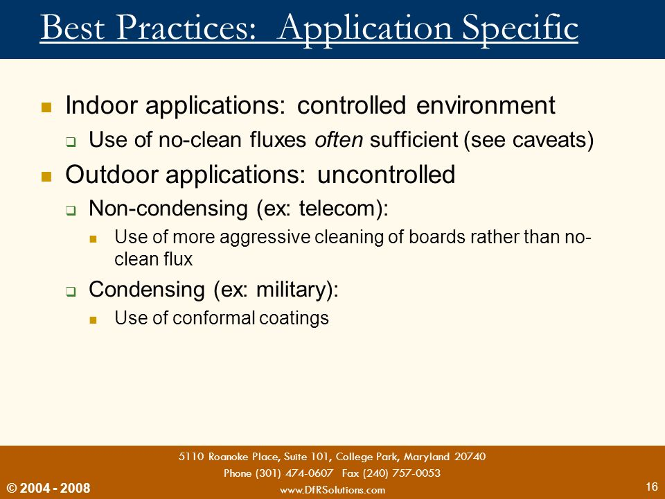 Best Practices: Application Specific