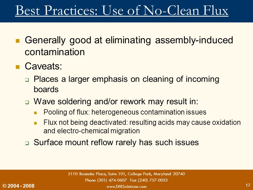 Best Practices: Use of No-Clean Flux