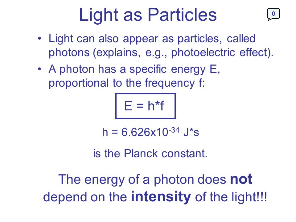 Light as Particles E = h*f