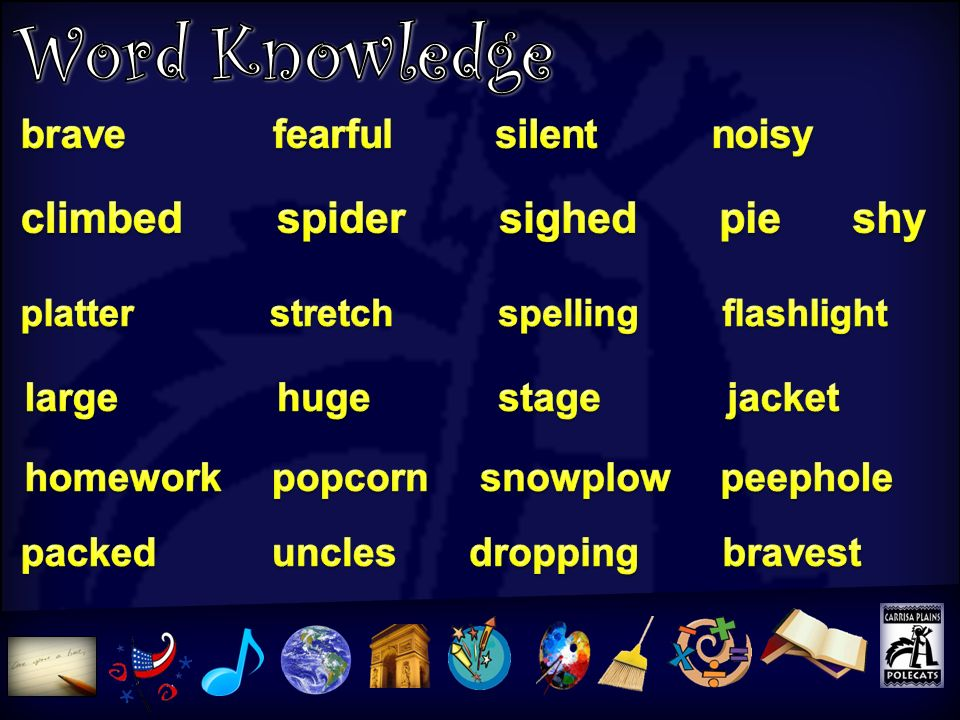 Word Knowledge climbed spider sighed pie shy