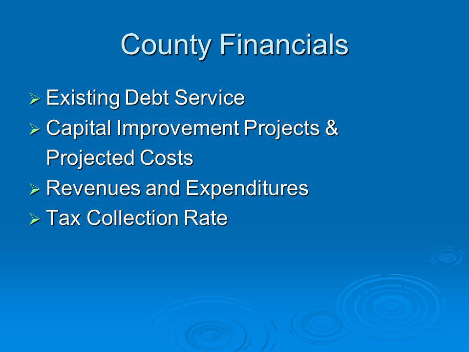 County Financials Existing Debt Service Capital Improvement Projects &