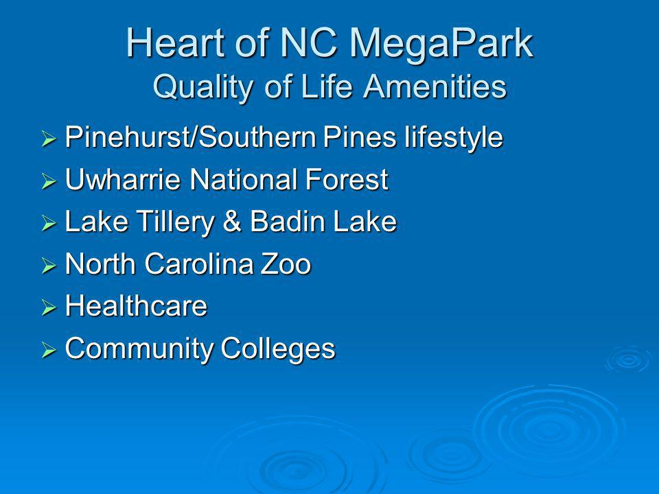 Heart of NC MegaPark Quality of Life Amenities