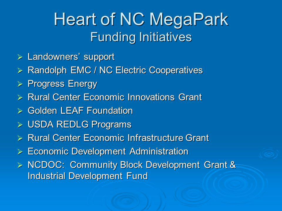 Heart of NC MegaPark Funding Initiatives
