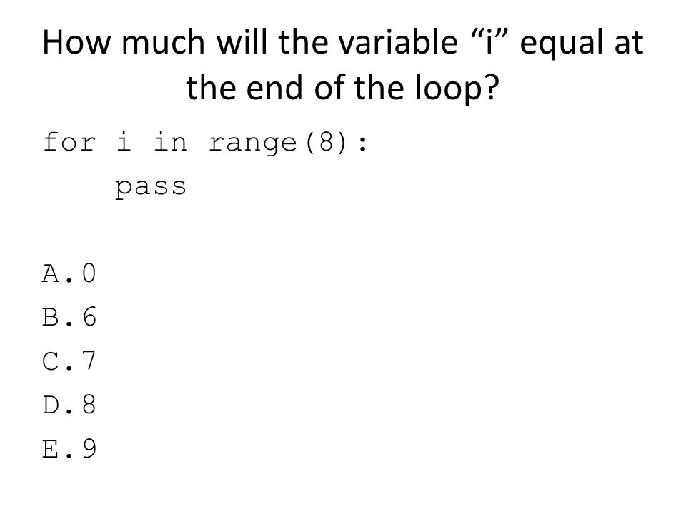 How much will the variable i equal at the end of the loop