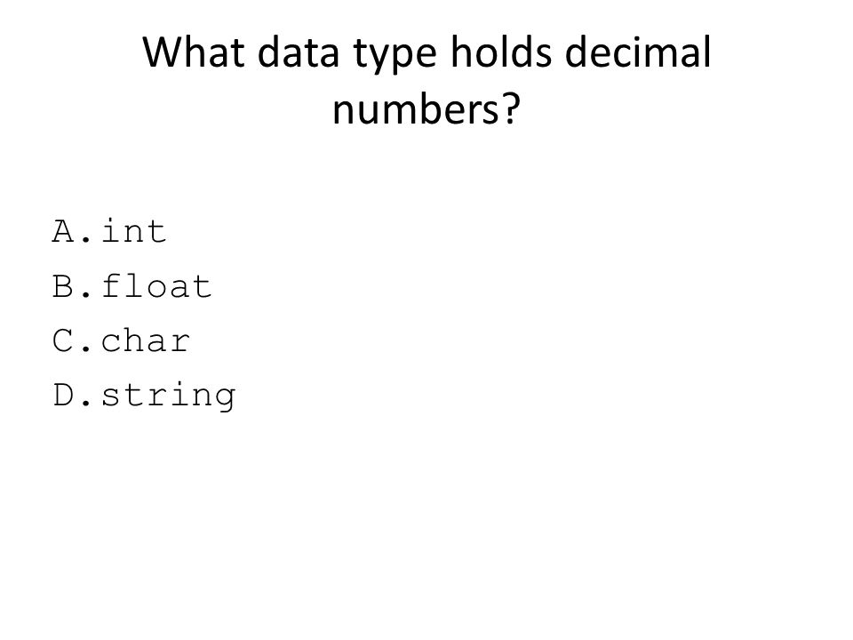 What data type holds decimal numbers