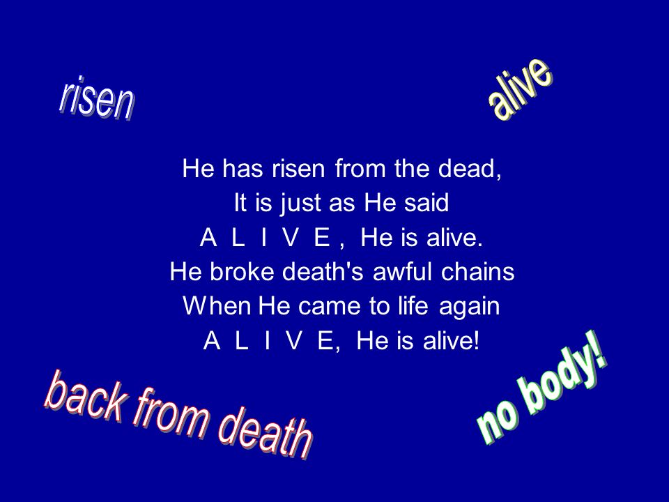 alive risen no body! back from death He has risen from the dead,