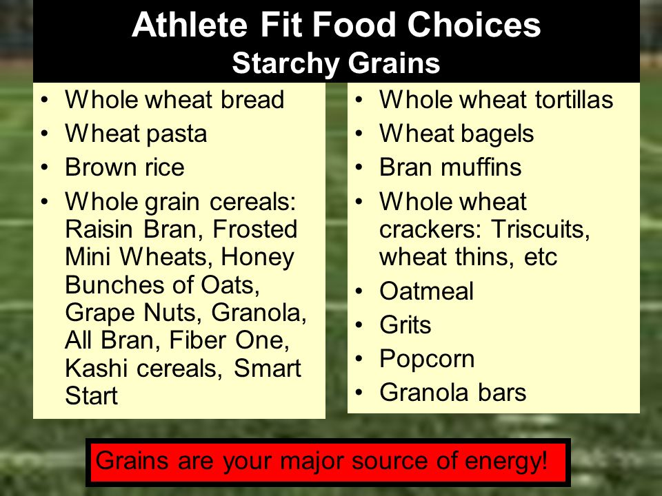 Athlete Fit Food Choices Starchy Grains