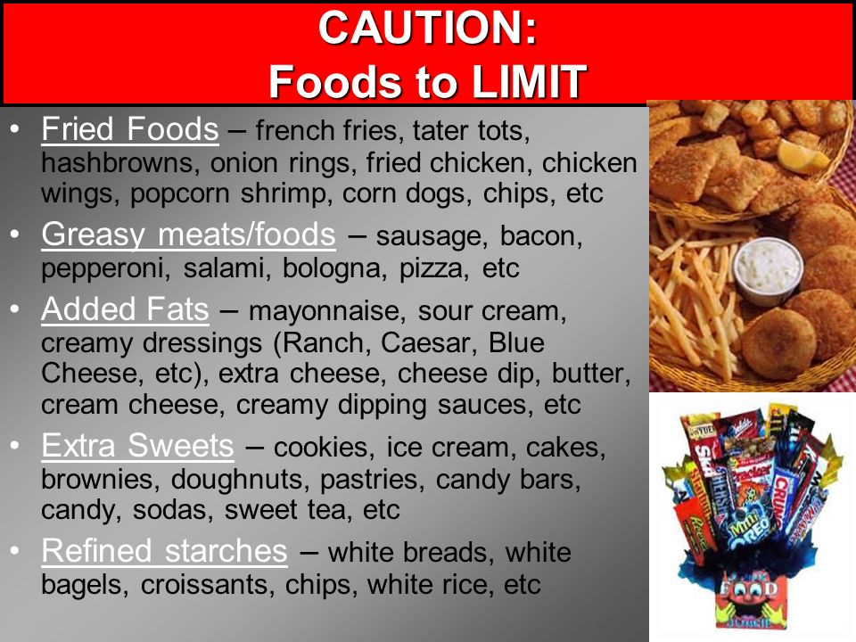 CAUTION: Foods to LIMIT