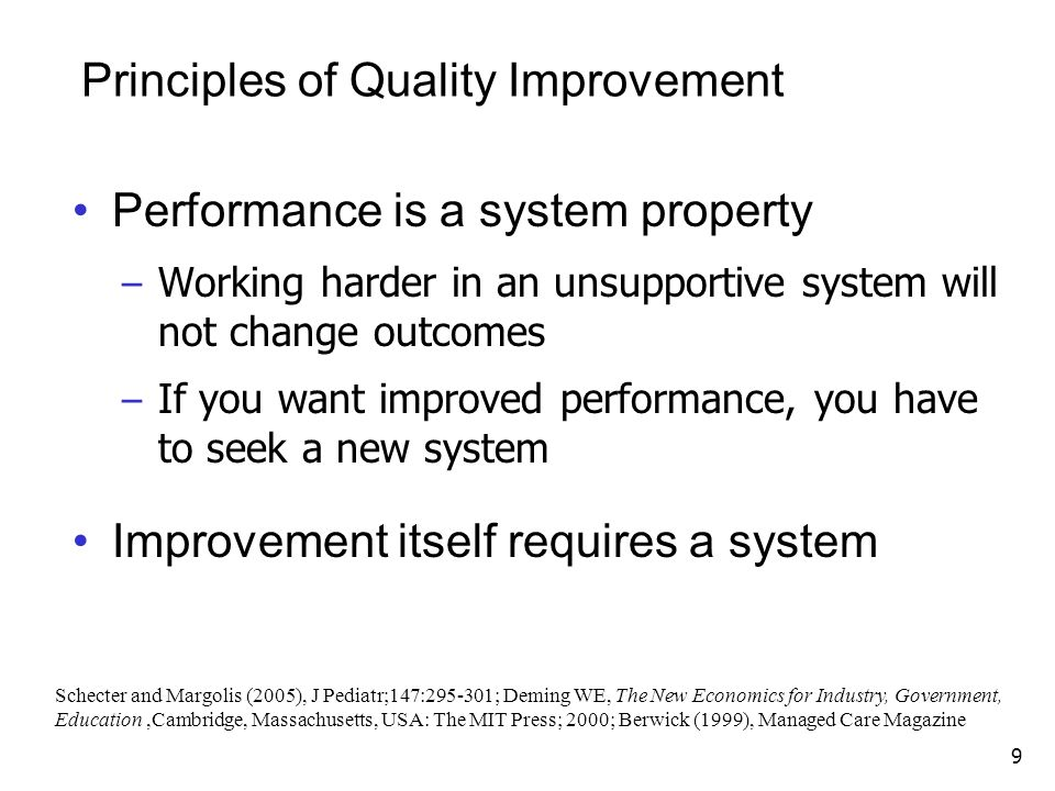Principles of Quality Improvement