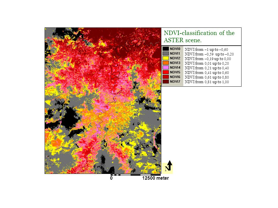 N NDVI-classification of the ASTER scene. 12500 meter