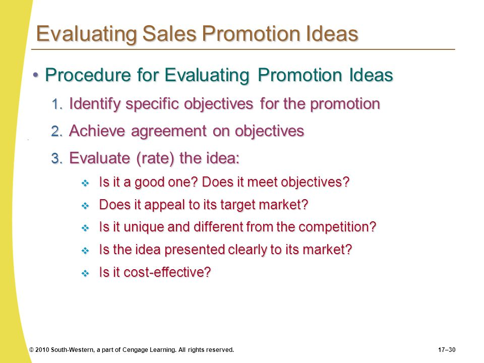 Evaluating Sales Promotion Ideas