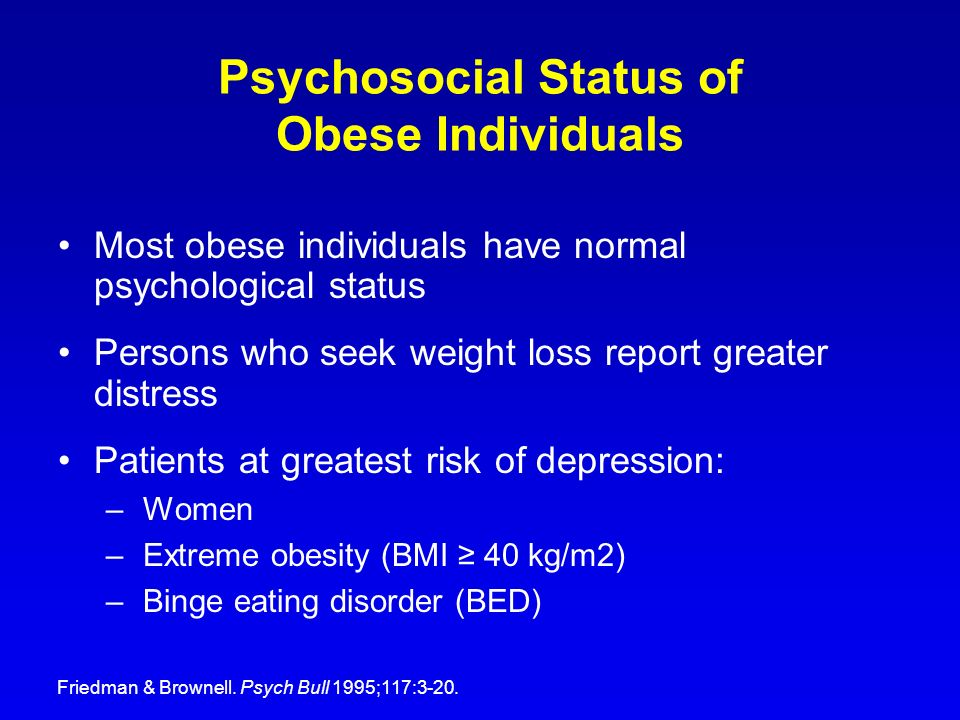 Psychosocial Status of Obese Individuals