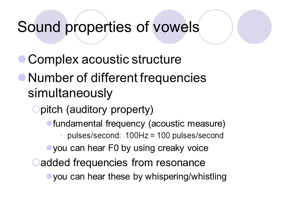 Sound properties of vowels