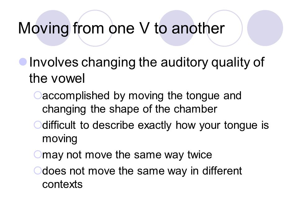 Moving from one V to another
