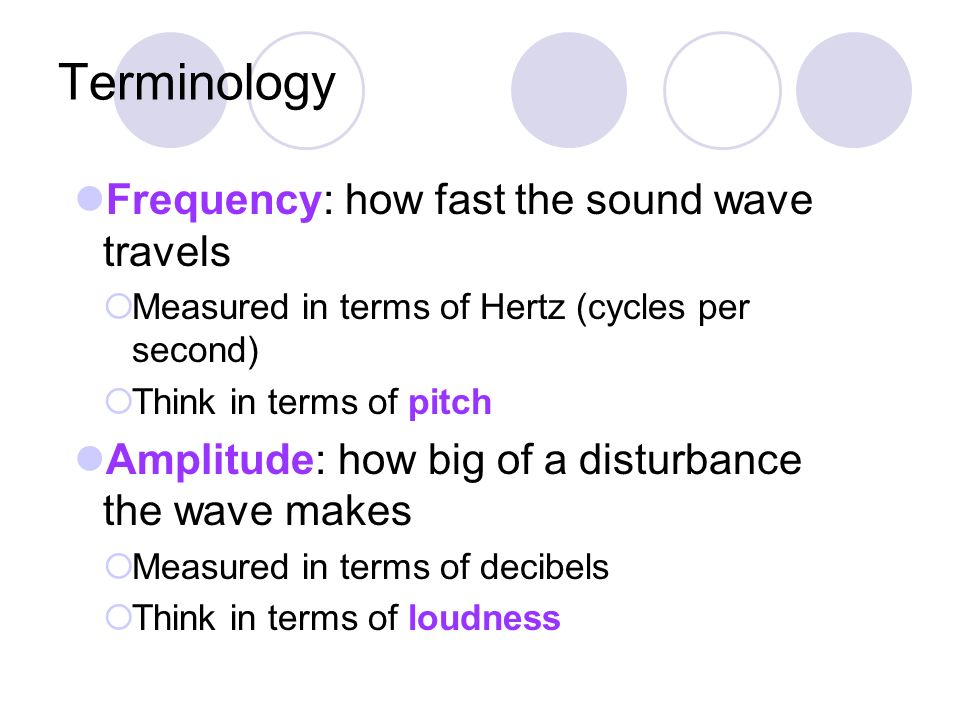 Terminology Frequency: how fast the sound wave travels