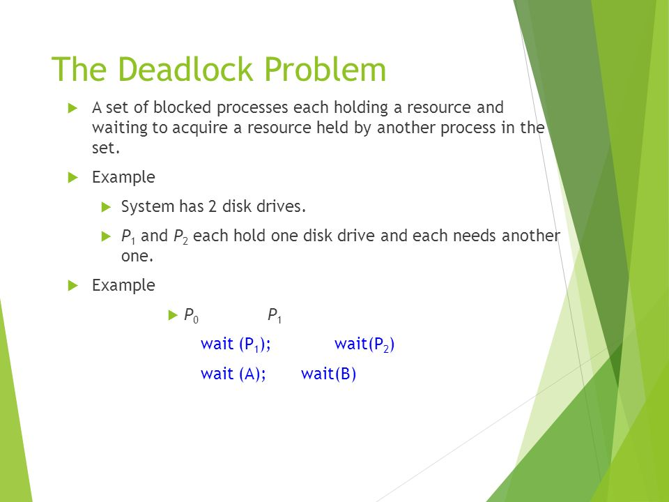The Deadlock Problem A set of blocked processes each holding a resource and waiting to acquire a resource held by another process in the set.