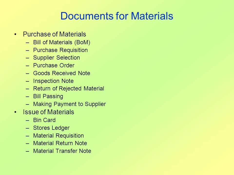Documents for Materials