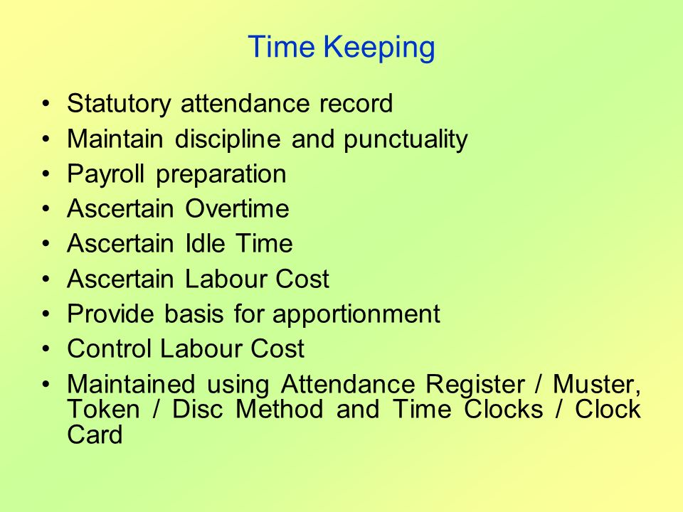Time Keeping Statutory attendance record