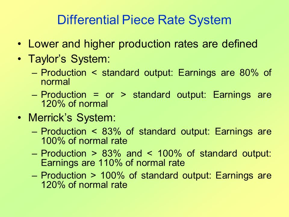 Differential Piece Rate System