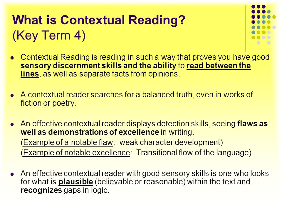 What is Contextual Reading (Key Term 4)