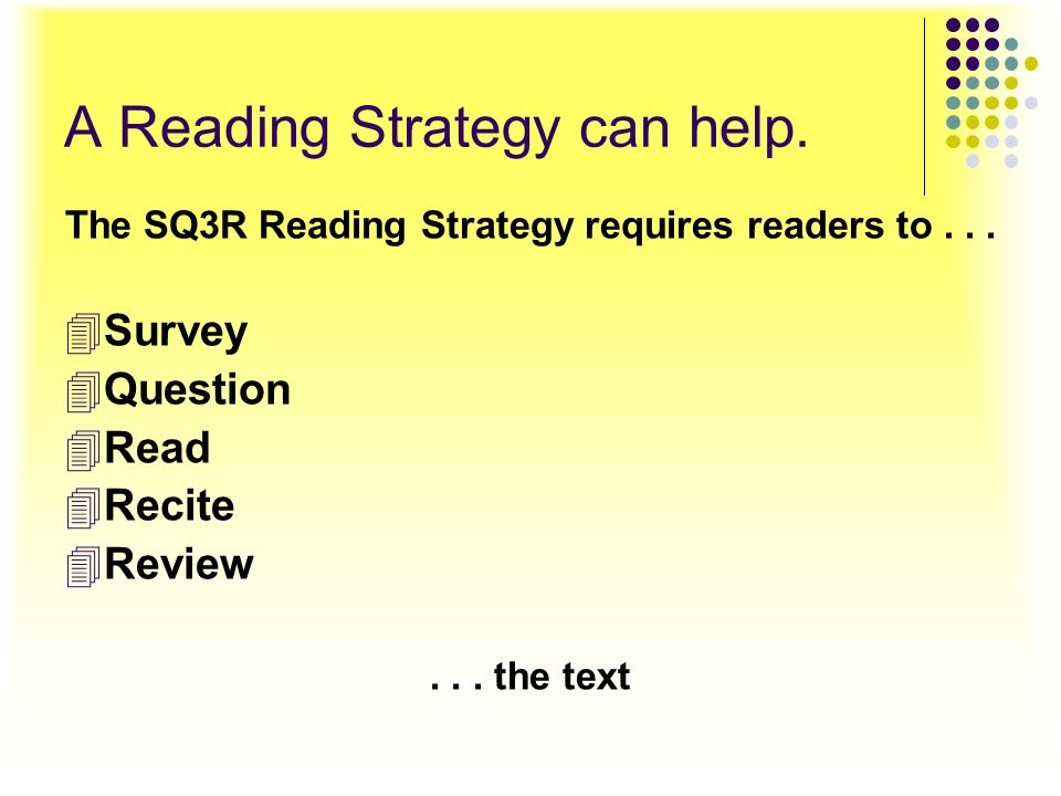 A Reading Strategy can help.