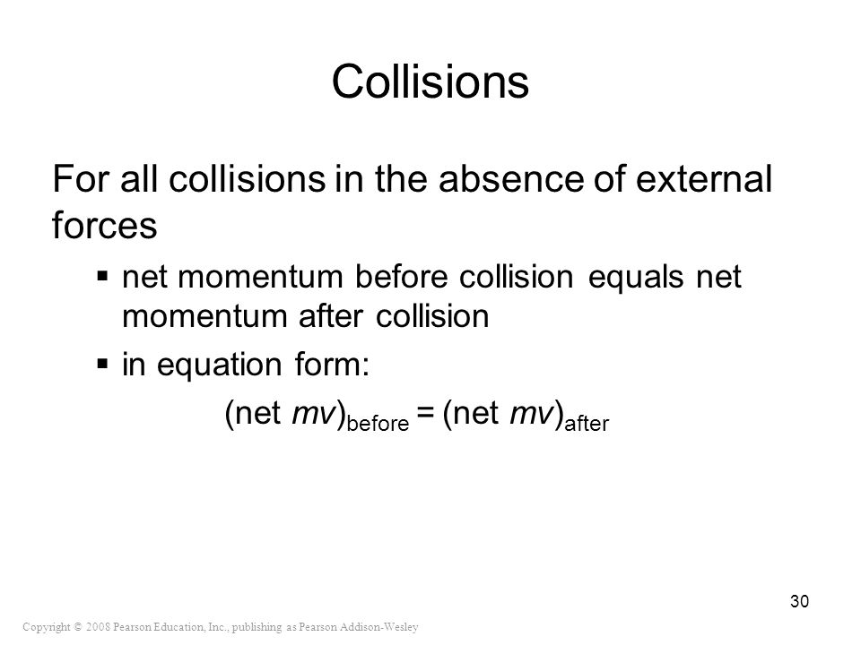 Collisions For all collisions in the absence of external forces