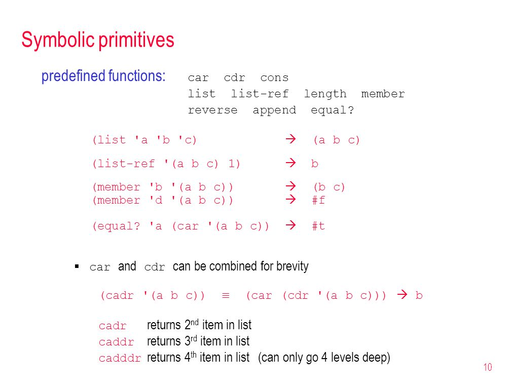 Symbolic primitives predefined functions: car cdr cons
