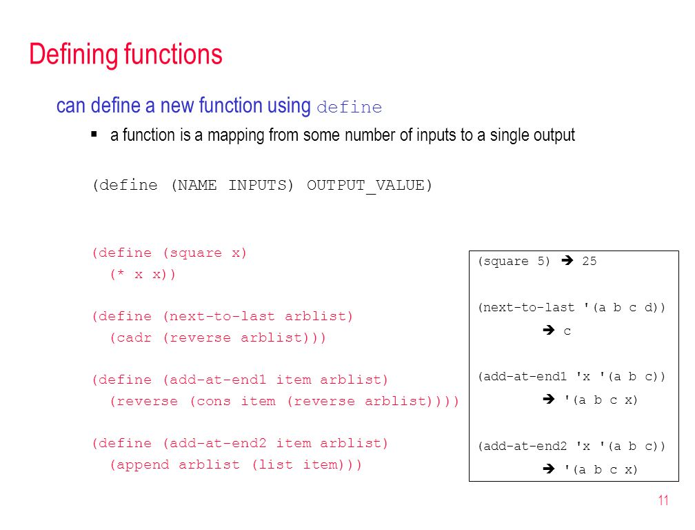 Defining functions can define a new function using define