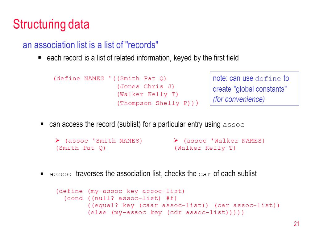 Structuring data an association list is a list of records