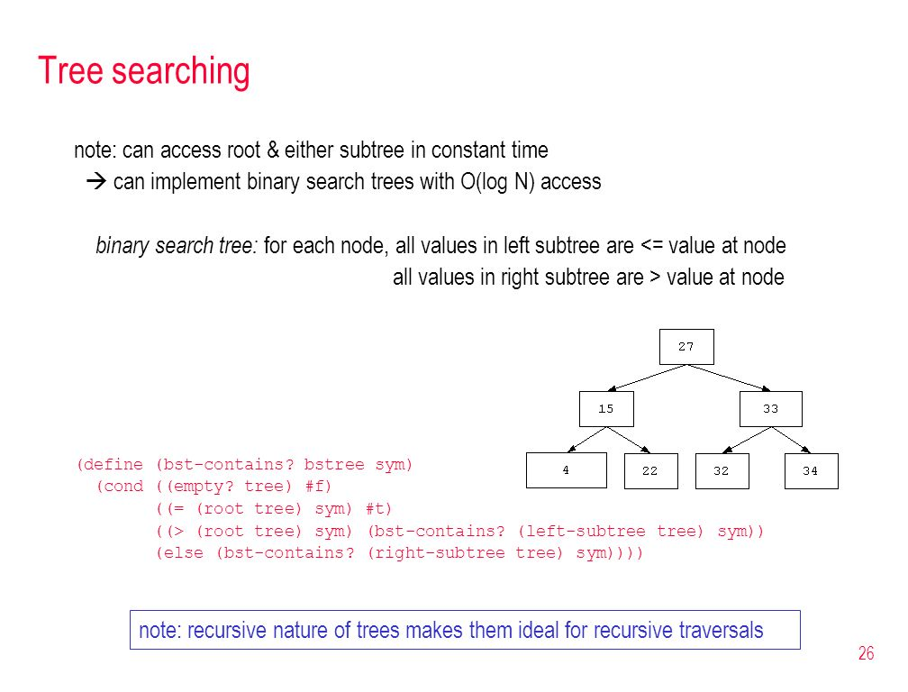 Tree searching note: can access root & either subtree in constant time