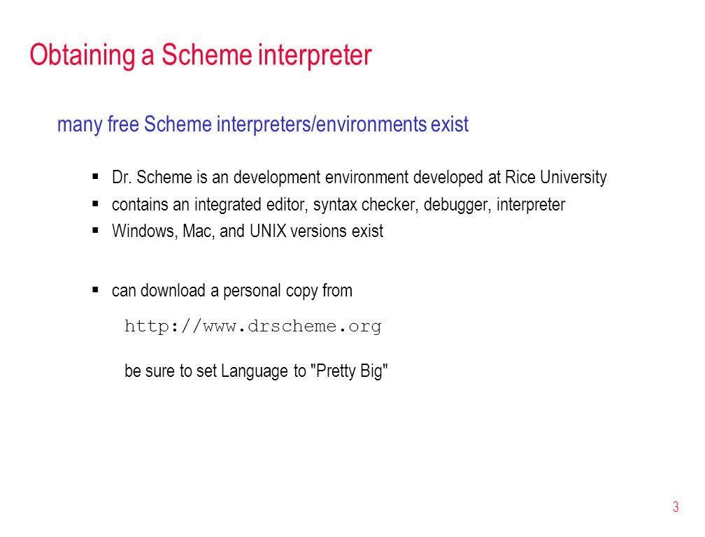 Obtaining a Scheme interpreter
