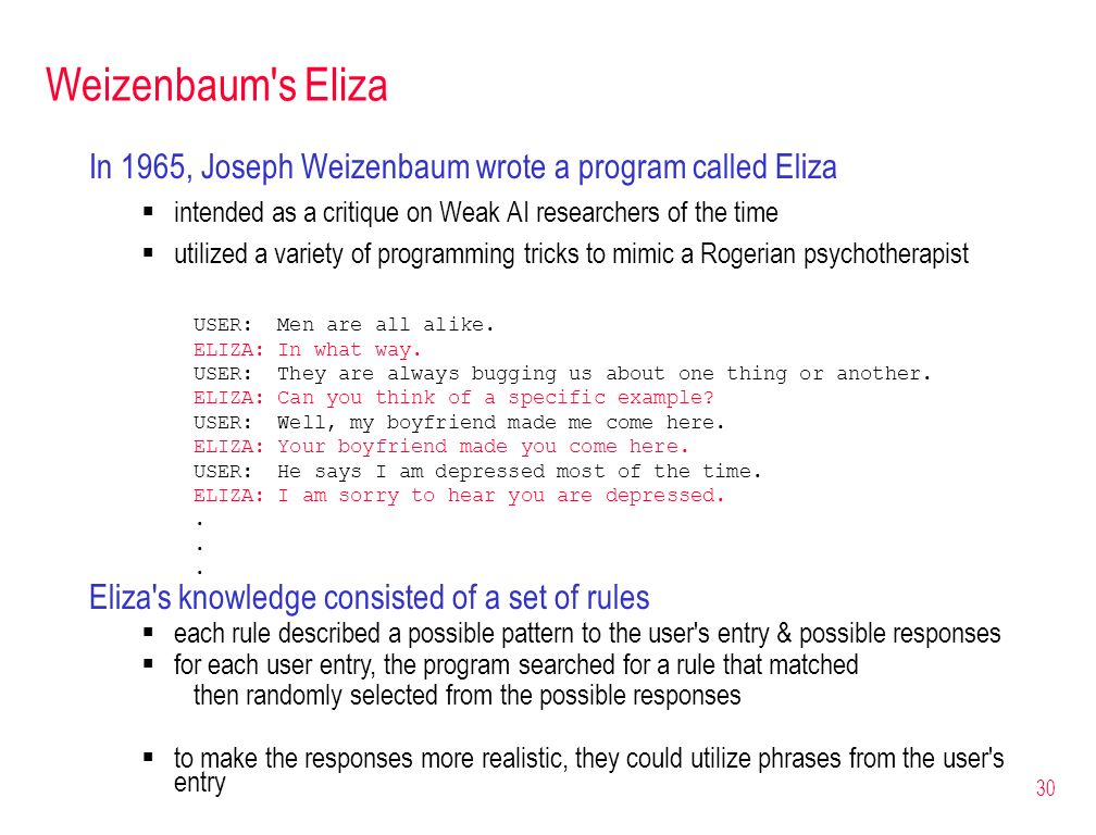 Weizenbaum s Eliza In 1965, Joseph Weizenbaum wrote a program called Eliza. intended as a critique on Weak AI researchers of the time.